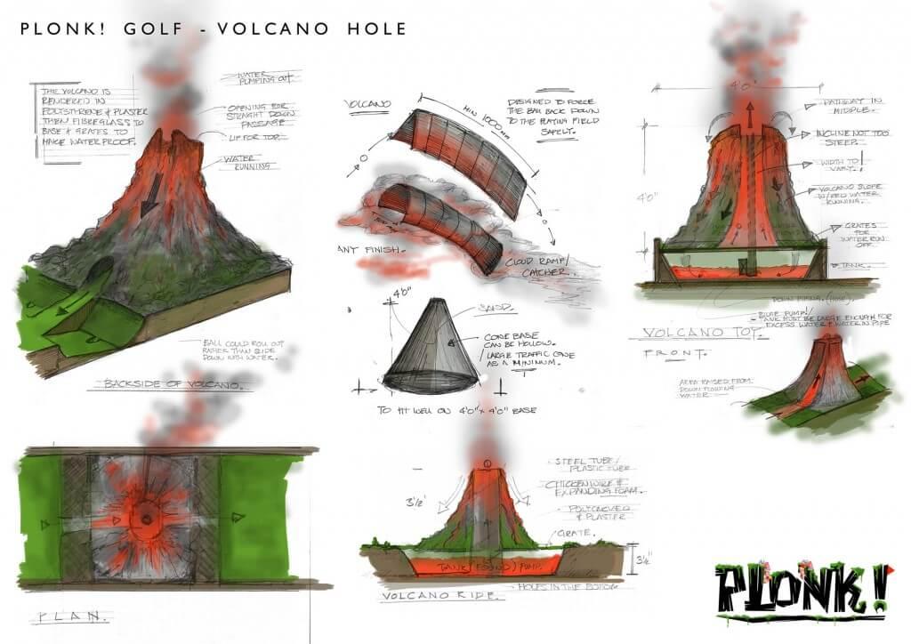 Plonk crazy golf volcano hole instructions