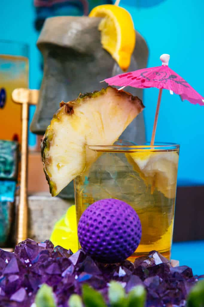 pineapple drink and golf ball