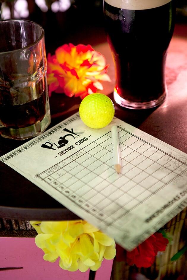 Plonk Crazy Golf score card